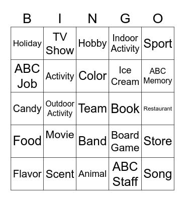 Favorite Bingo Card