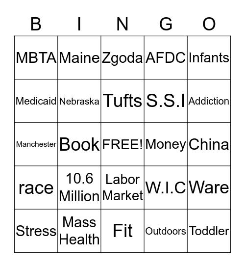 The Working Poor Bingo Card