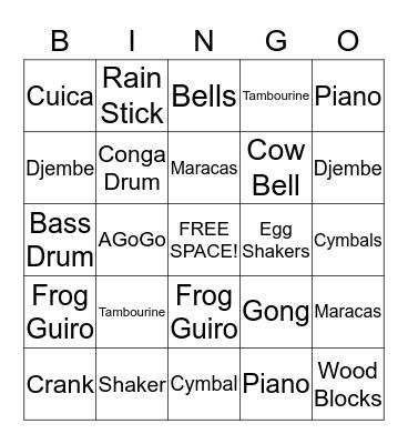 PERCUSSION INSTRUMENTS Bingo Card