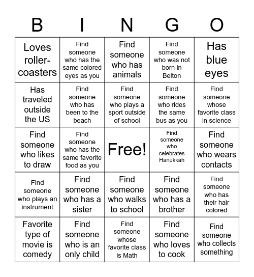 Personal Connections BINGO Card