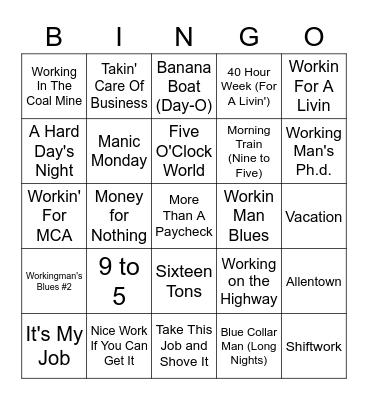 """""""Labor Day"""" Bingo Card"""
