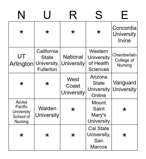 Cypress College Nursing Fair  Bingo Card