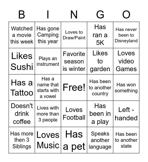 Get You Know You Bingo Card