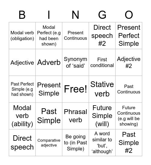 Grammar Bingo :) Bingo Card