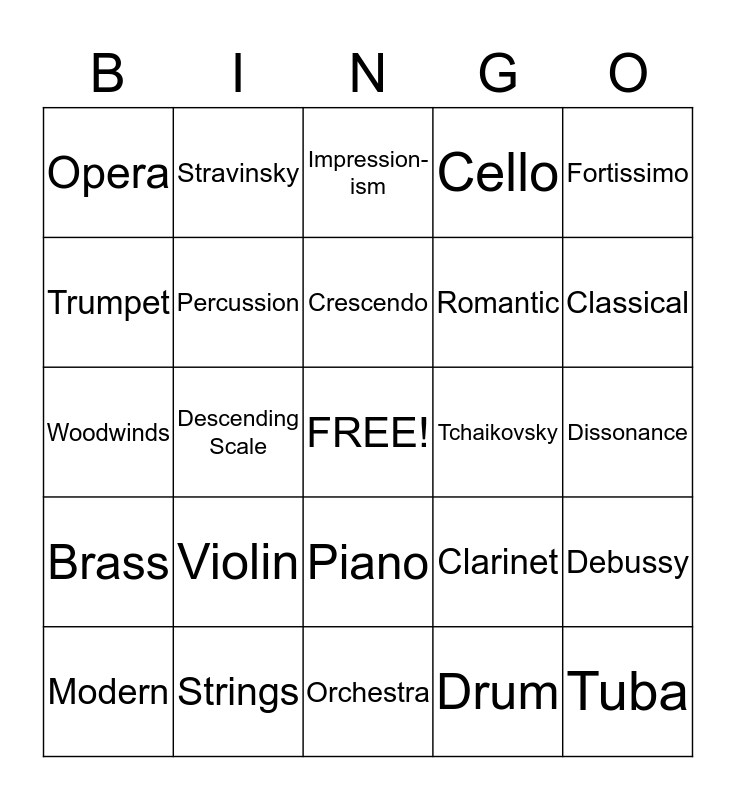 Orchestra and Composers Bingo Card