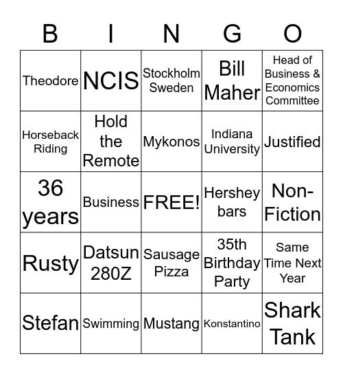 Steve's 75th -Version 1 Bingo Card