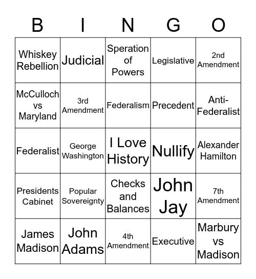 3rd 6 Wks Early Republic Bingo Card