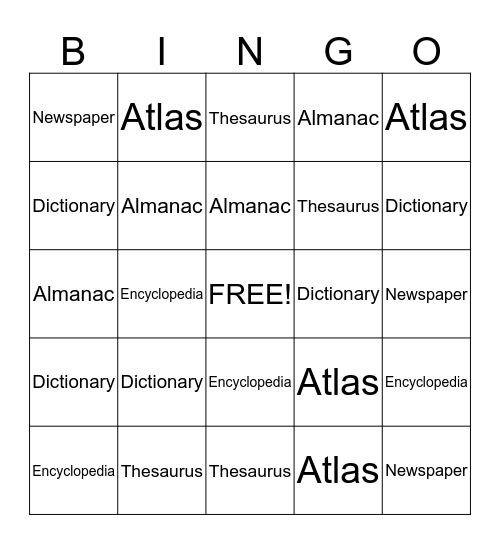 Reference Materials  Bingo Card