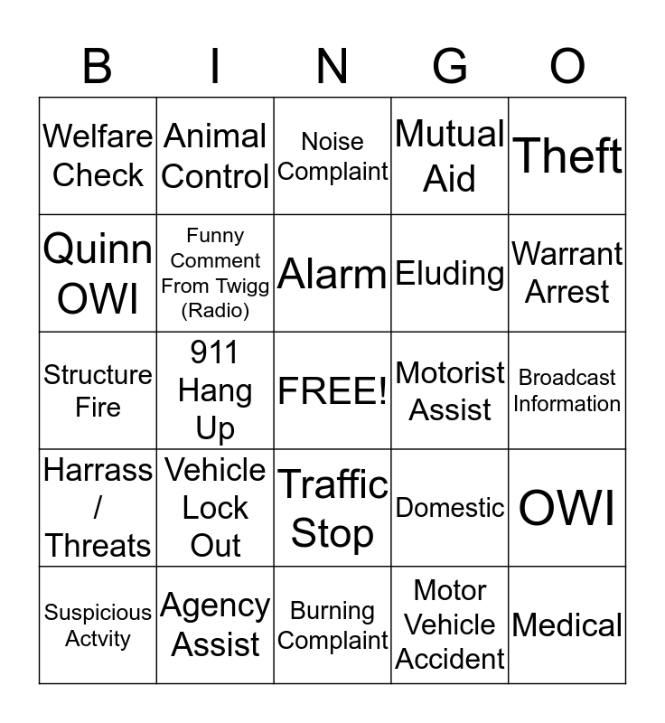 Dispatch Bingo Card