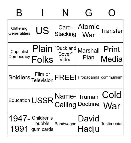 Cold War Bingo Card