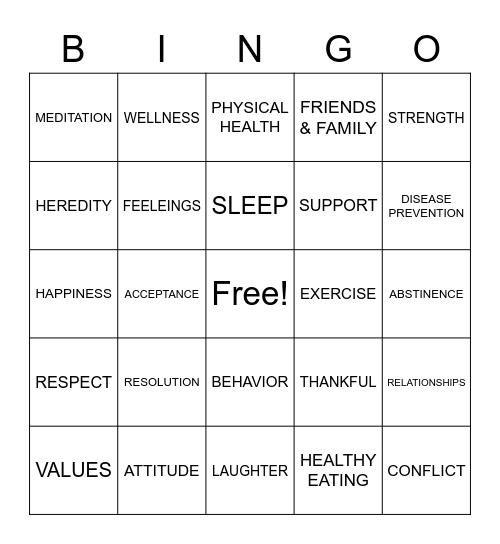 HEALTHY YOU Bingo Card