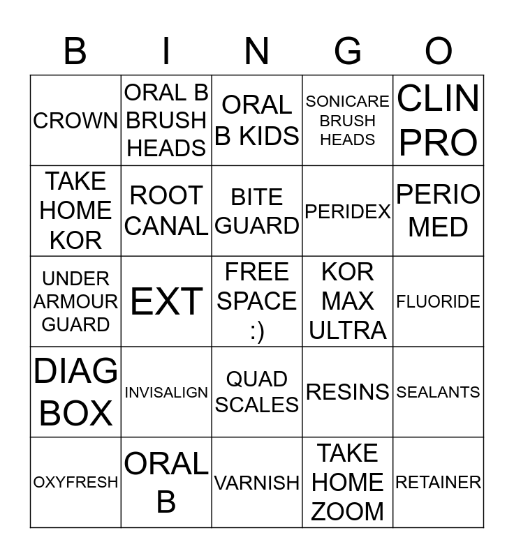 SLONE DENTAL  Bingo Card