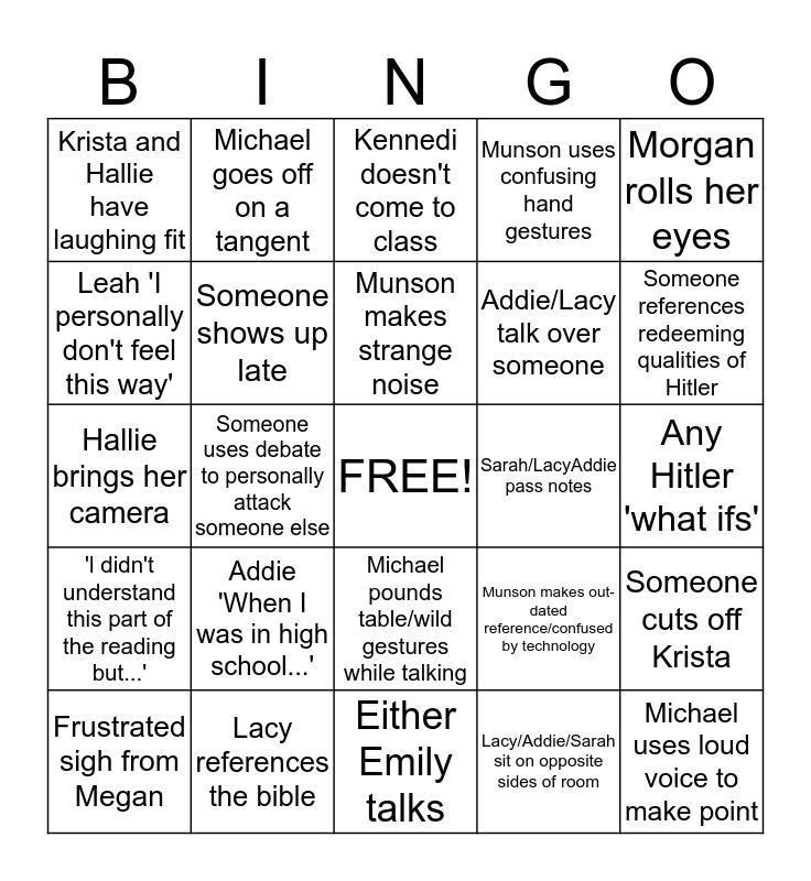 History Debate Bingo Card