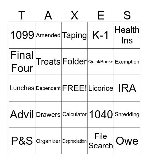 Tax Season Bingo Card