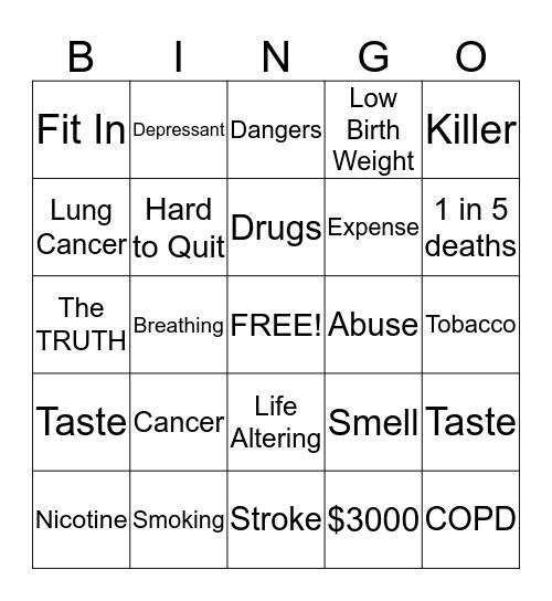 Say No Bingo Card
