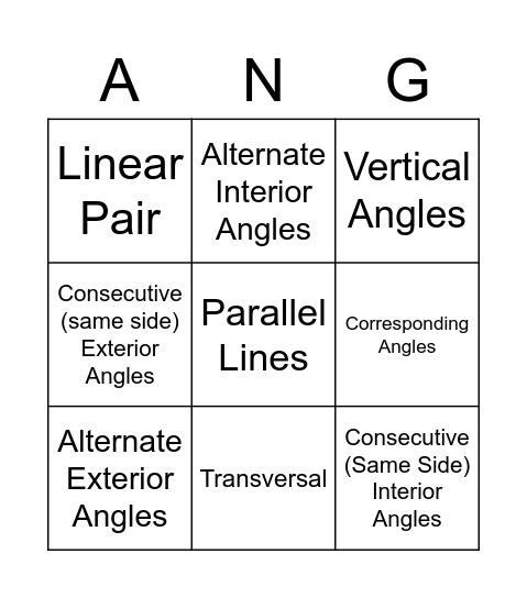 Angle Pair Relationships Bingo Card