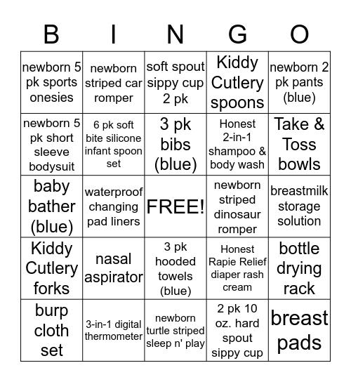 Baby Registry Bingo Card