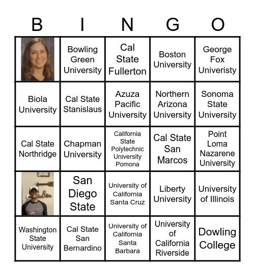 College Bingo Card