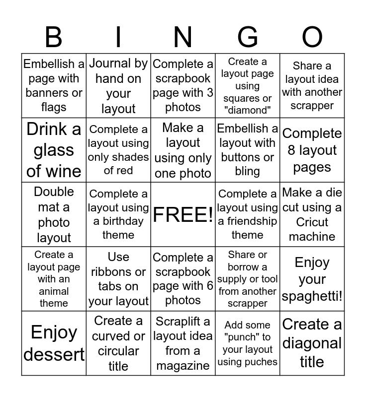 Scrappers Bingo Card