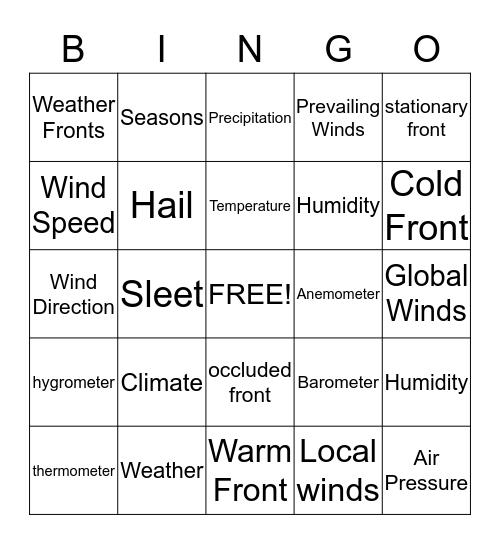 Earth Science  Bingo Card