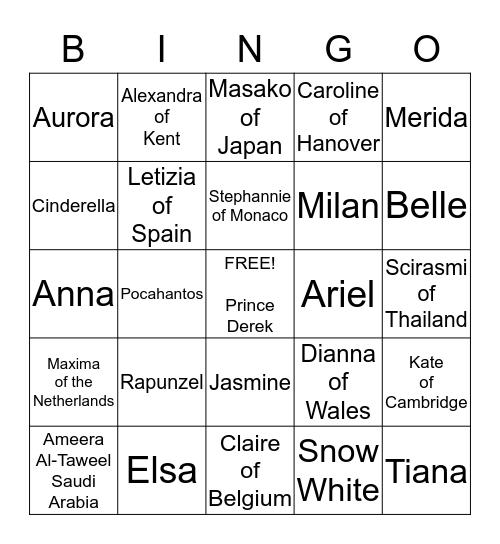 Princess Bingo Card
