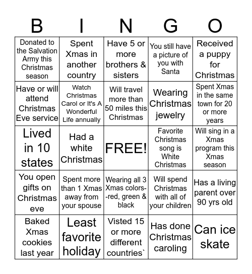 Christmas Memory Lane Bingo Card