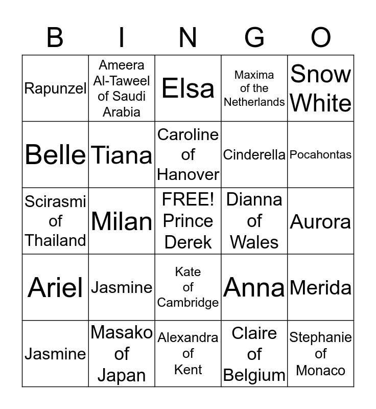 Princess Bingo Card