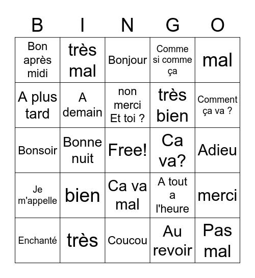 Les Salutations Bingo Card