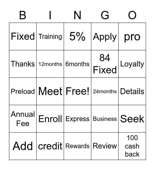 Lowes's Credit Bingo Card