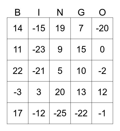 Reken Bingo Card