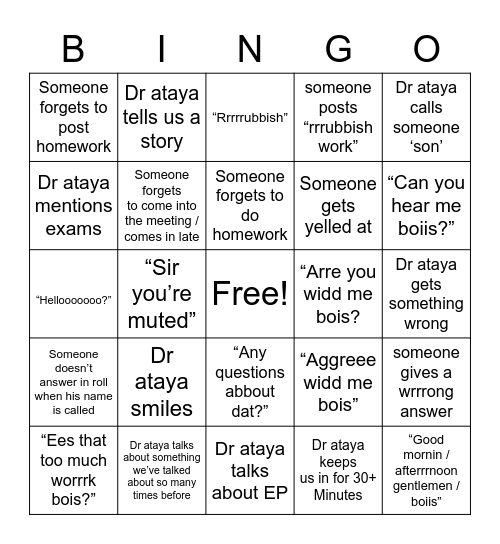 Dr Ataya's class bingo - lockdown edition Bingo Card