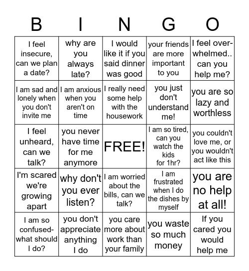 """I"" versus ""YOU"" Statements Bingo Card"