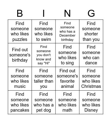 Kinney Bingo Card