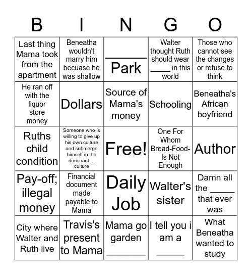 A Raisin In The Sun Bingo Card