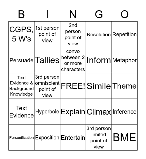STAAR Review Game Bingo Card