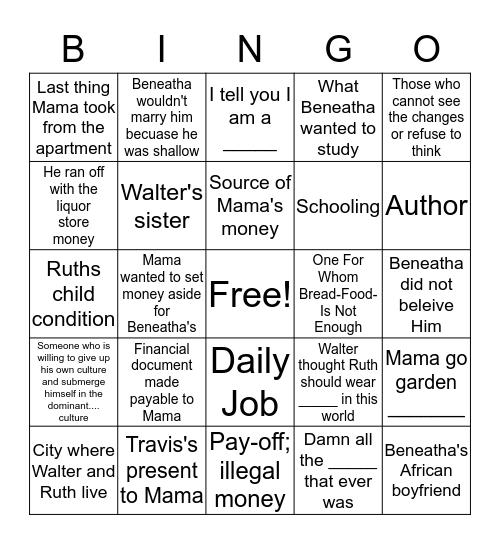A Raisin In The Sun Bingo Card