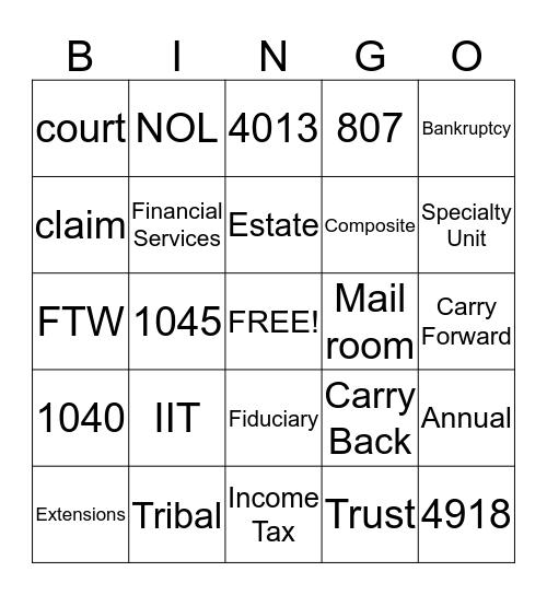 Specialty Unit Bingo Card