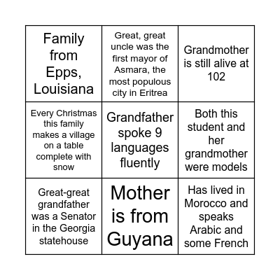 Genealogy 2021! Bingo Card