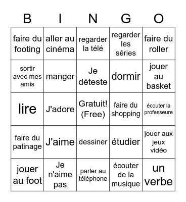 J'aime... Bingo Card