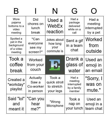 Remote Work Bing Bingo Card
