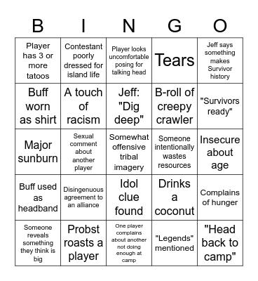 Survivor S41 Bingo Card