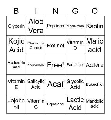 Esthetician Vocabulary Bingo Card