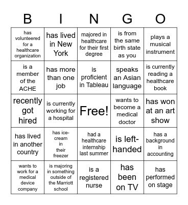Find someone who… Bingo Card