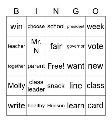 Leaders all around us Bingo Card