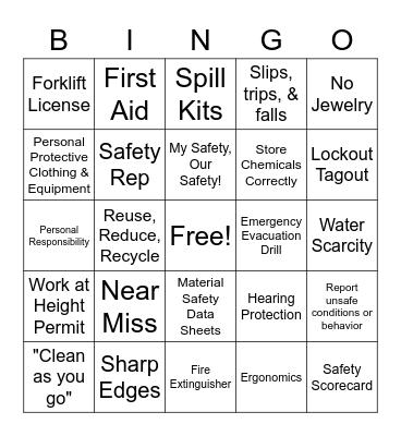 Health and Safety Bingo Card