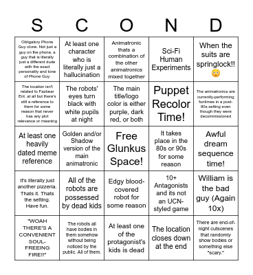 Fangame Tropes That I Absolutely Hate Bingo Card