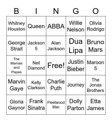 Who Sings It? Bingo Card