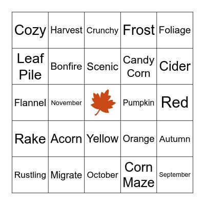 VIRTUAL BINGO (Fall Edition) Bingo Card