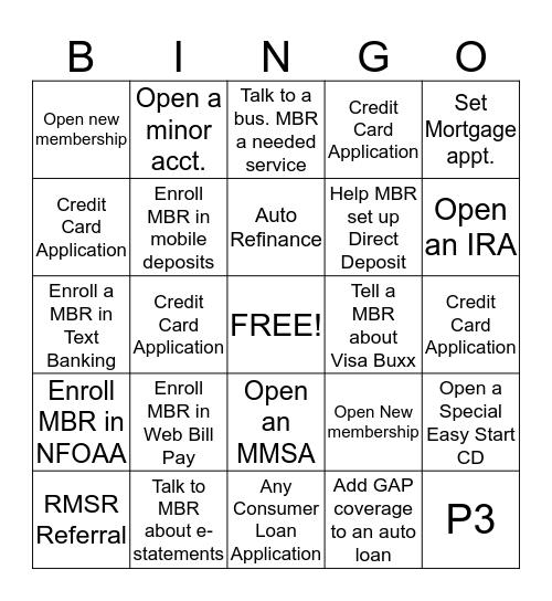 NFCU Bingo!!!!! Bingo Card