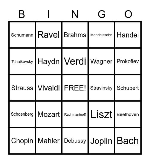 Composers Bingo Card